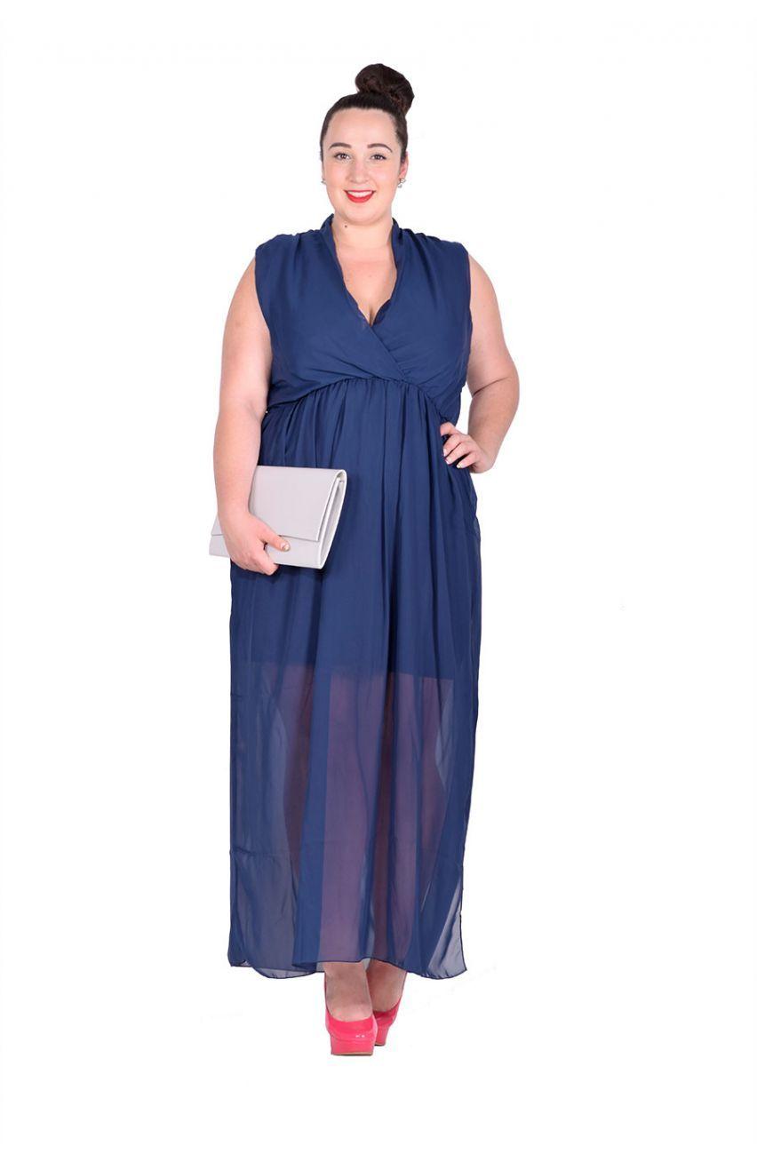 f7afaf3c36385f Granatowa gładka szyfonowa sukienka maxi - Modne Duże Rozmiary ...