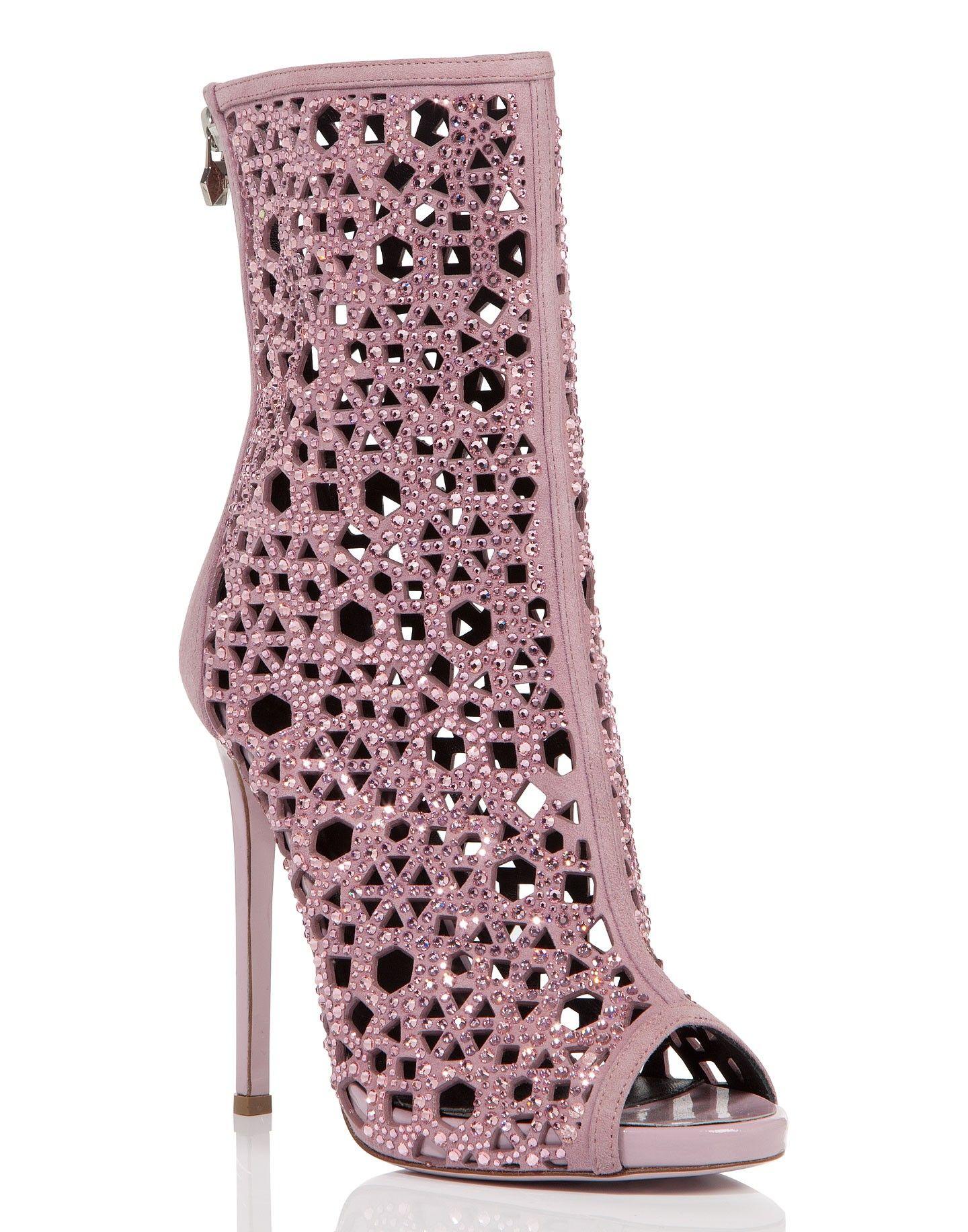 Cutout boots, Crystal heels