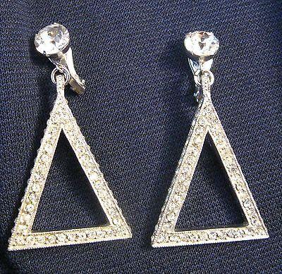 I love triangles. Hollywood Bling Clear Rhinestone Huge Triangle Dangling Earrings ER's mint