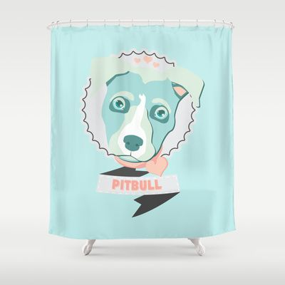 Pastel Pitbull Shower Curtain By Minette Wasserman 68 00 Shower Curtain Curtains Shower