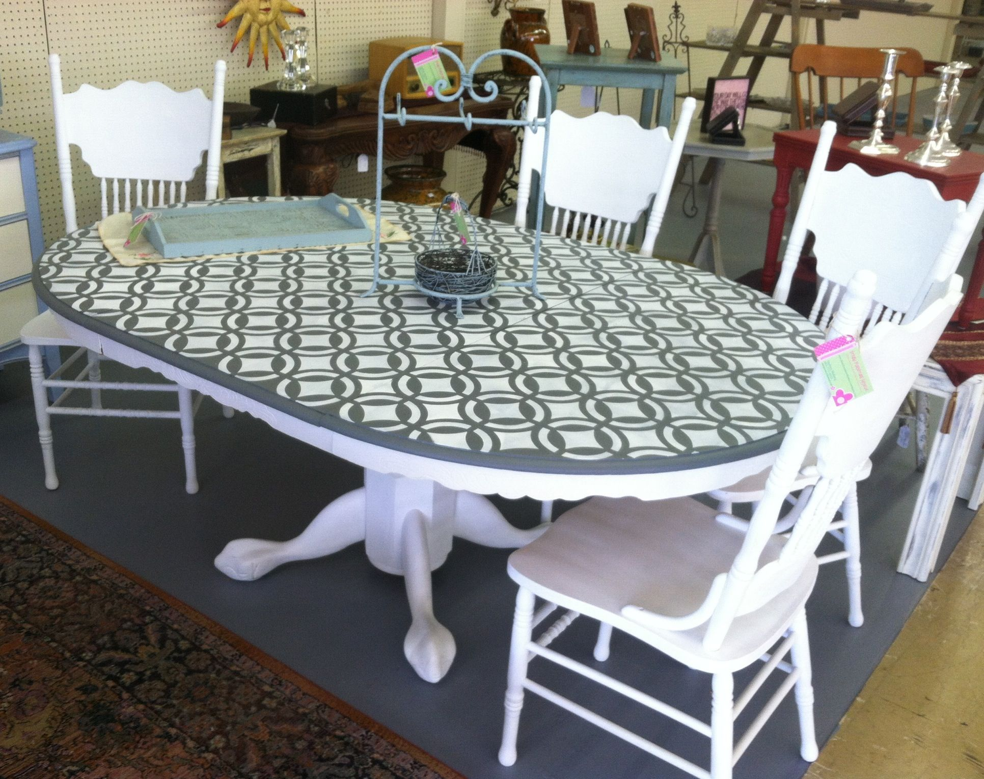 Oak table pressed back chairs french linen pure white for Dining room tables painted with chalk paint