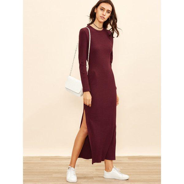 19cffdf519 SheIn(sheinside) Slit Ribbed Fitted Full Length Dress (22 BAM) via Polyvore  featuring dresses, burgundy, t shirt maxi dress, long-sleeve maxi dress, ...