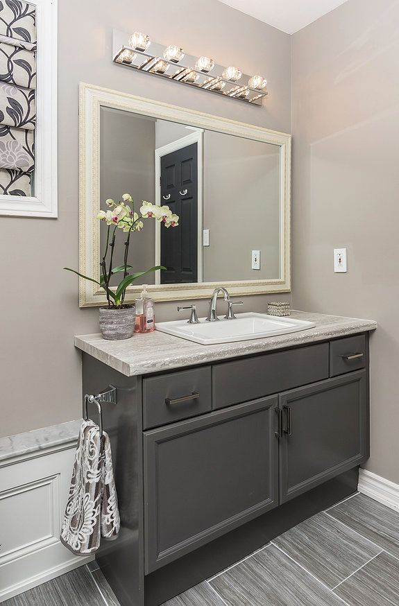 Best Photo Gallery For Website Refaced Benjamin Moore Kendall Charcoal Grey Vanity Travertine Silver Laminate Top Luxart Poydras Faucet
