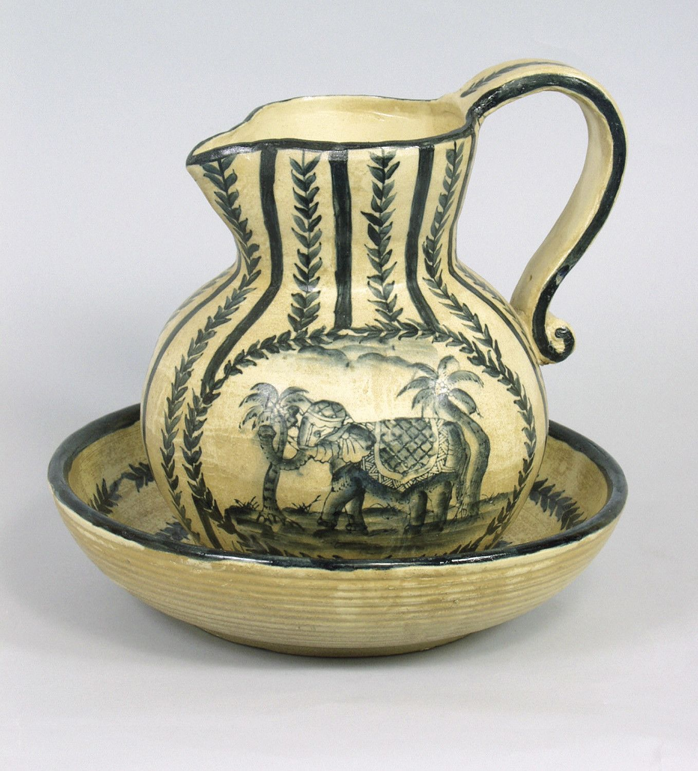 Elephant 2 Piece Bowl and Pitcher Set