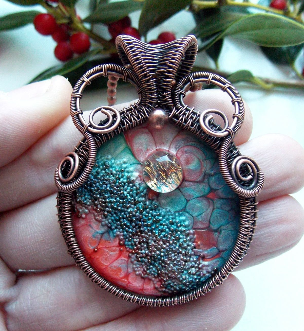 hand painted pendant-wire wrap-copper wrap-wire weave jewelry ...