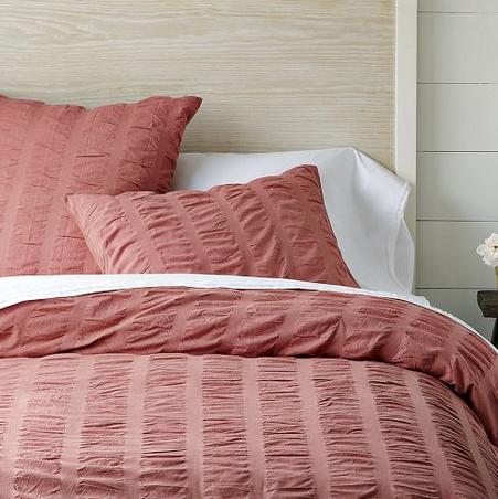 modern master bedroom with threshold seersucker duvet cover set | Organic Seersucker Duvet and Shams in Coral Rose, from ...