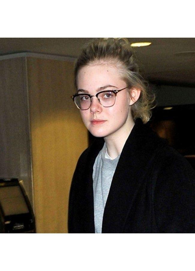 2df508121d Elle Fanning Style Metal Half Frame Celebrity Clear Glasses ...