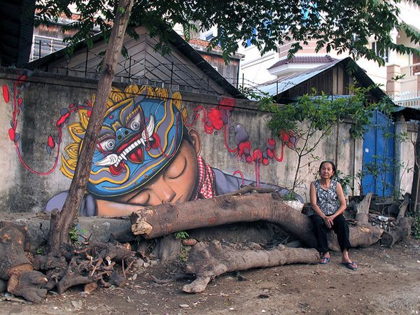 French street artist Seth travels around the world with his global mission in mind to cover every continent with street art containing characters that look like or symbolize the native people. The murals above are from India, Mexico, Cambodia, Brazil and South Africa.