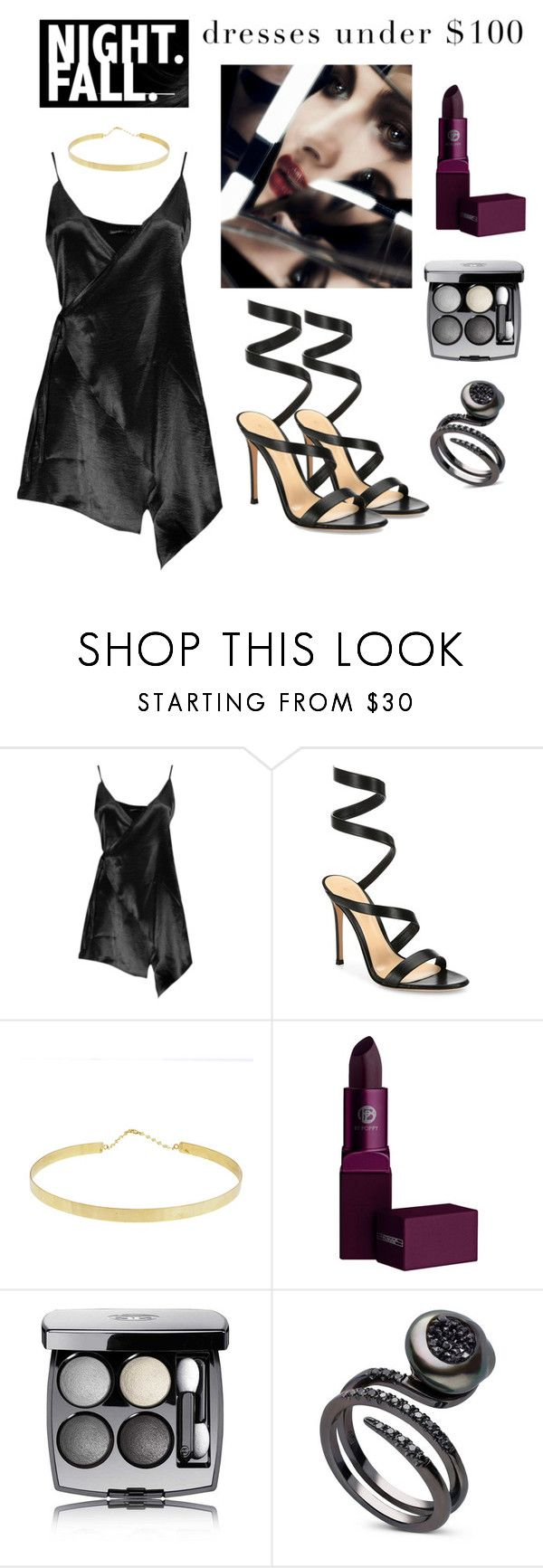 """""""Nocturnal"""" by boredbanana ❤ liked on Polyvore featuring Boohoo, Gianvito Rossi, Lana, Lipstick Queen and Chanel"""