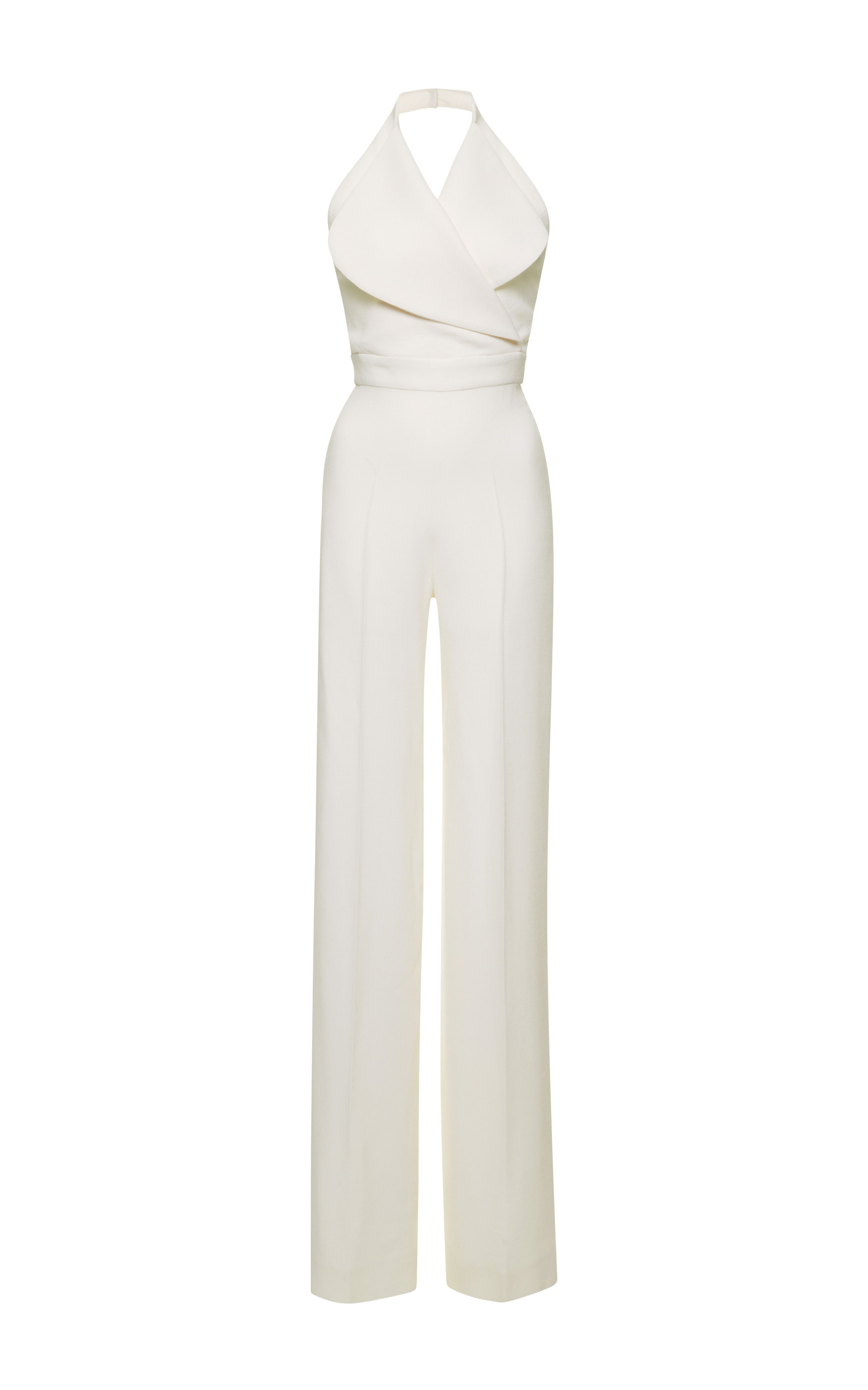 Minimal and Classic Style // Winter White Wool-Crepe Halterneck Jumpsuit by Emilia Wickstead - Moda Operandi