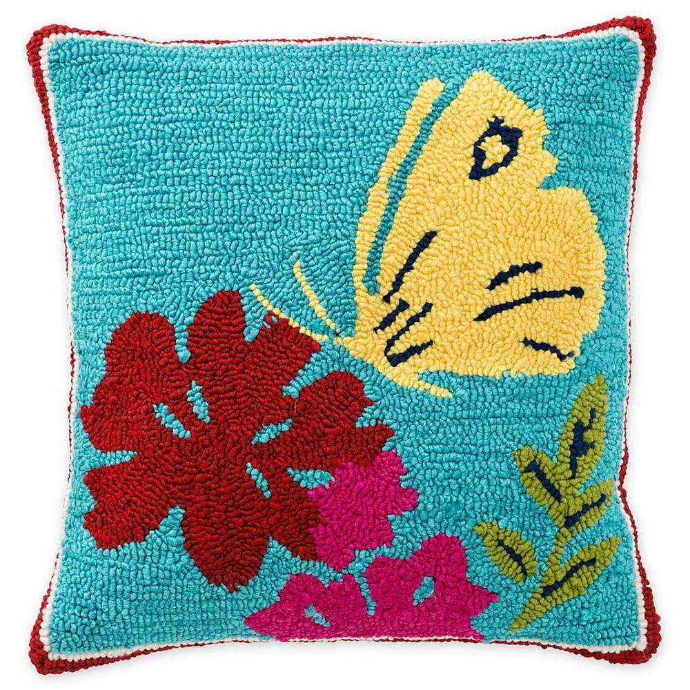 Indoor Outdoor Hand Hooked Polypropylene Butterfly Throw Pillow