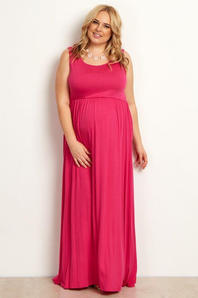 Fuchsia Basic Plus Size Maxi Dress Clothes Pinterest Maxi