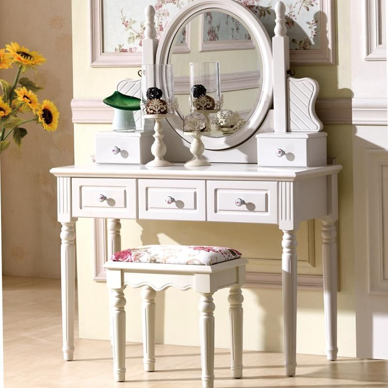Buy Dresser European style bedroom makeup table ivory white small - Bedroom Vanity Table