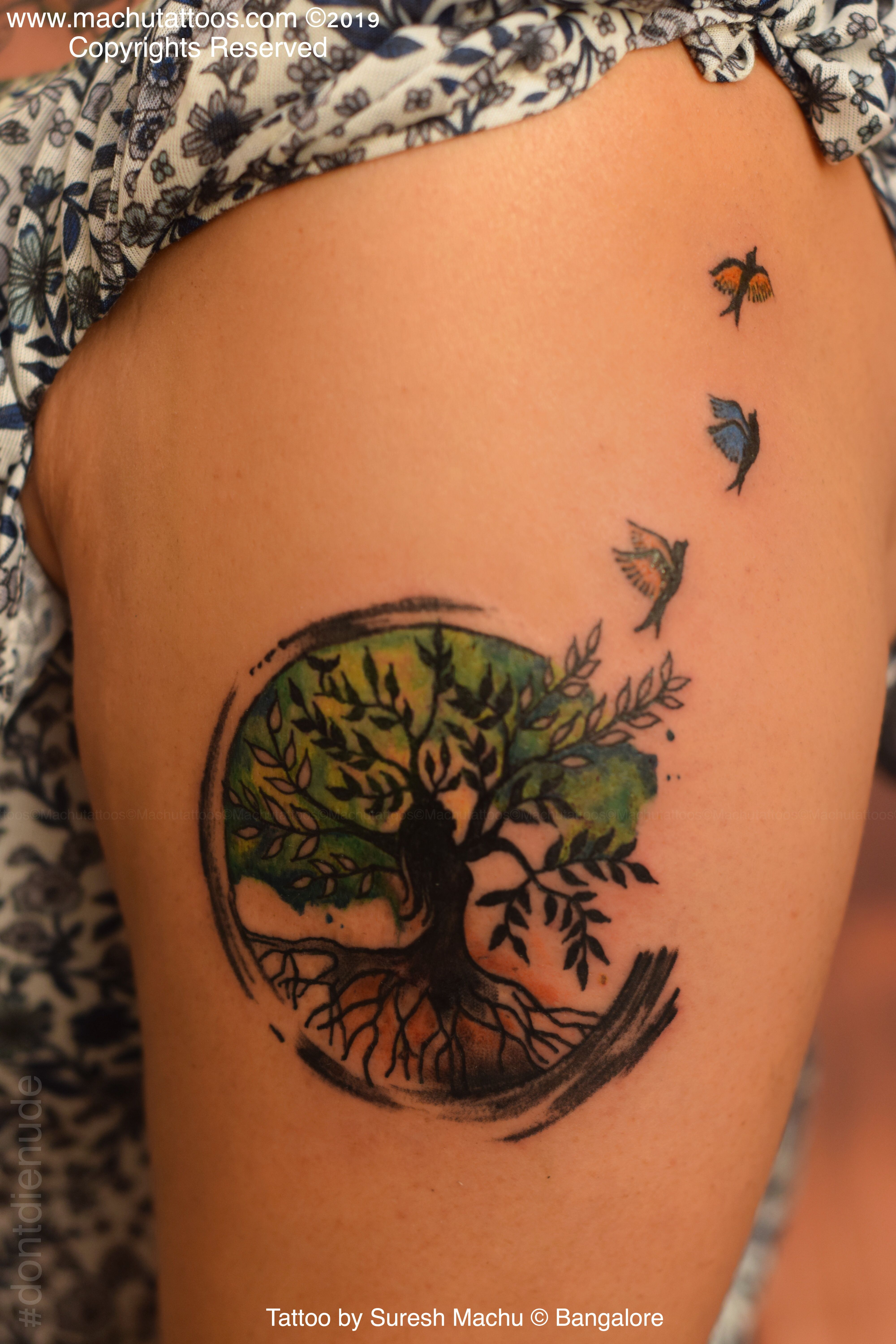 Tree Of Life Color Splash Effect Watercolor Tattoo Watercolor Tattoo Tree Tattoo Studio Color Splash Effect
