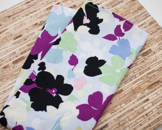 Large Cloth Napkins - Set of 4 - (N2246) - Modern Age Floral Reusable Fabric Napkins #clothnapkins