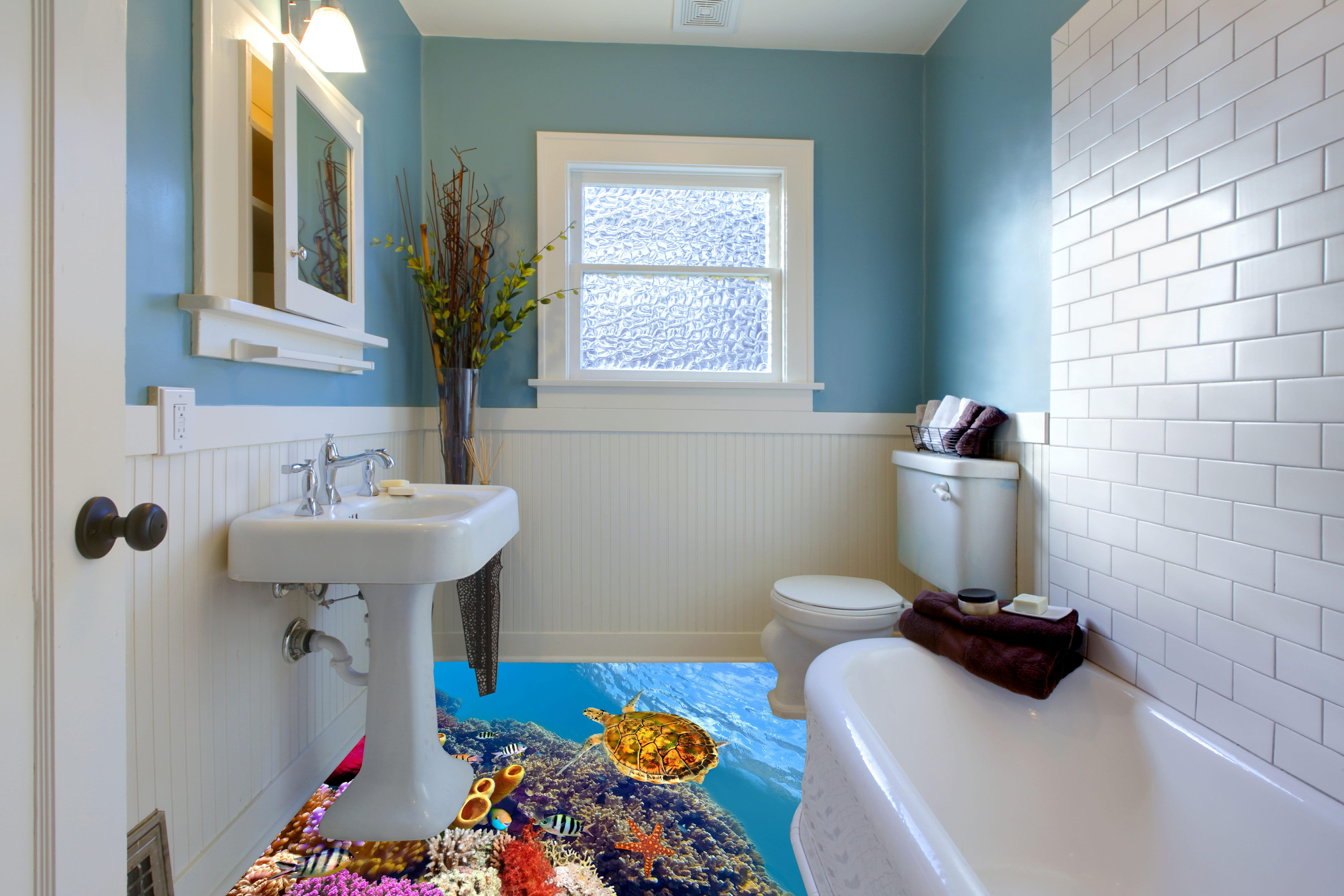 3d epoxy flooring for bathroom coral reefs theme | flooring and wall ...