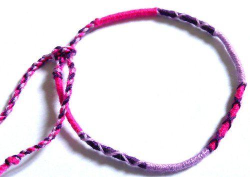 Bracelet Brésilien Amitié Friendship Porte Bonheur Coton violet marron noir