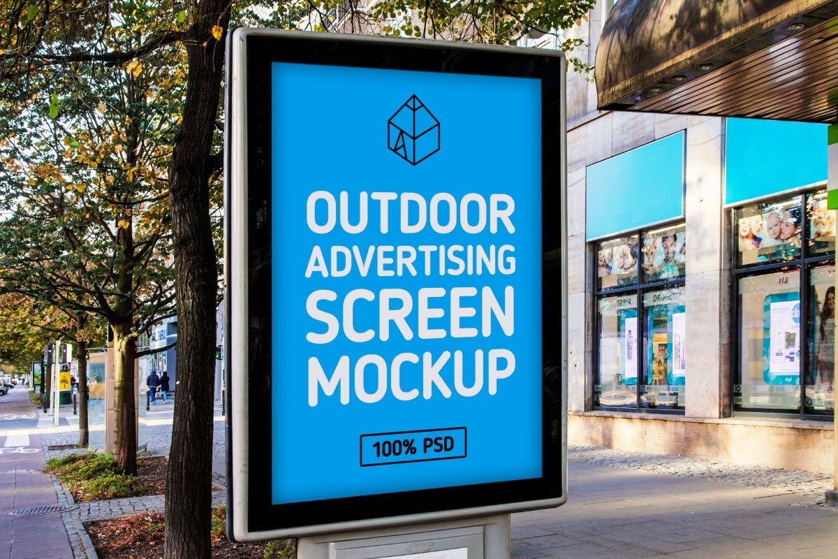 Free Outdoor Advertising Screen Mock Up Outdoor Advertising Outdoor Advertising Mockup Advertising