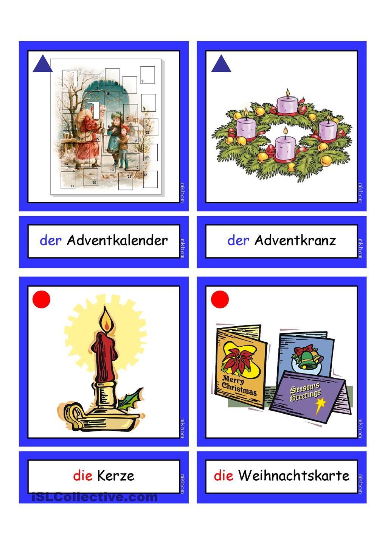flashcards weihnachten 1 deutsche w rter grammatik deutsche weihnachten deutsch lernen und. Black Bedroom Furniture Sets. Home Design Ideas