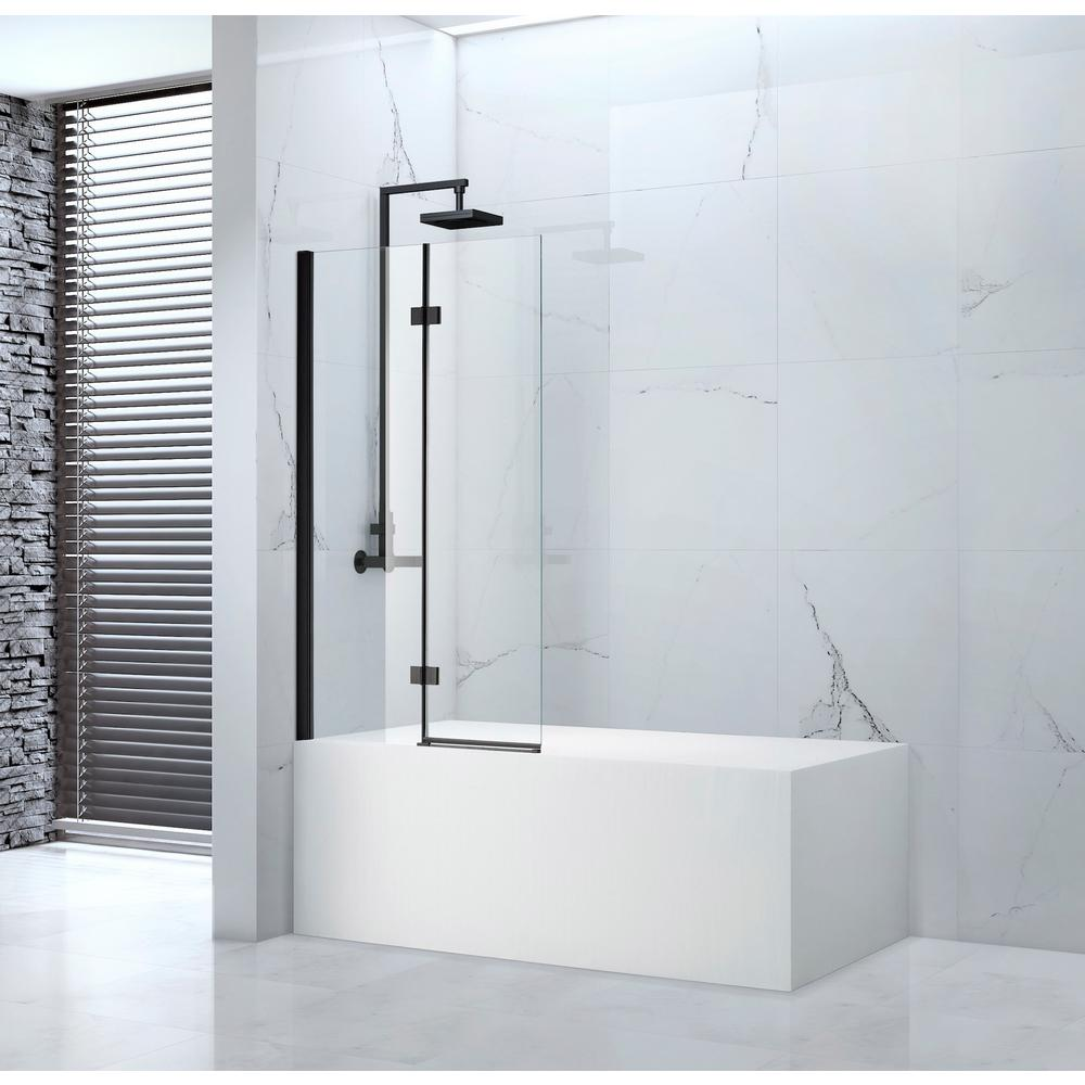 Amluxx Tidy 39 In X 55 In Semi Frameless Hinged Bathtub Door In Black Without Handle Tidy611630 Bt The Home Depot Tub Doors Bathtub Doors Shower Doors