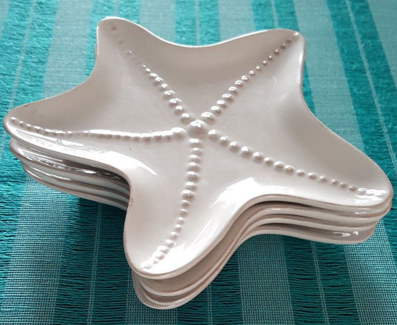 Blue Sky Seashell Collection Starfish Appetizer Salad Dessert 8  Set of 4 Plates #BlueSky : starfish dinnerware - pezcame.com