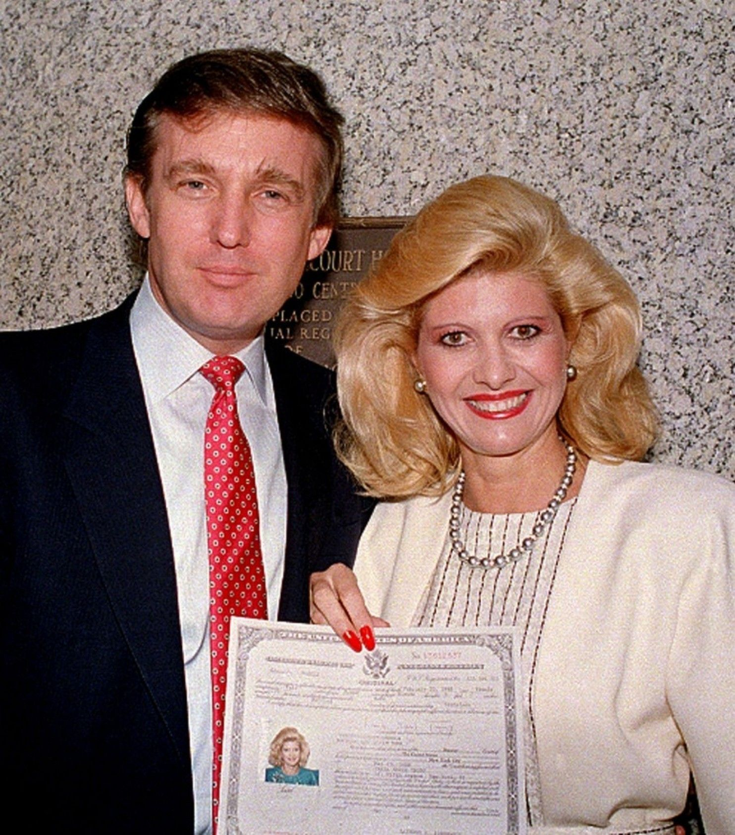 Donald And Ivana Trump In May 1988, After Her Us Citizenship Ceremony