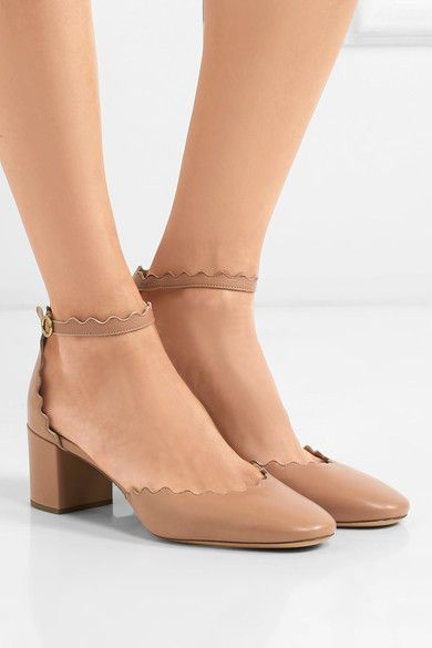 8d7a17f03f54 Chloé - Lauren Scalloped Leather Pumps - Blush Leather Buckle
