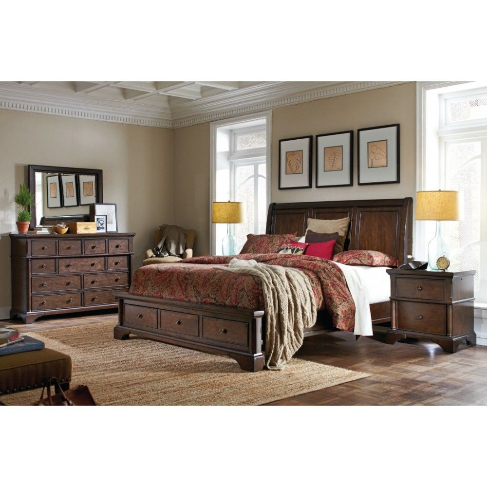 Aspen Home Bancroft Sleigh Storage Bedroom Set In Java  Fabulous Gorgeous Bedroom Sets With Storage Decorating Design