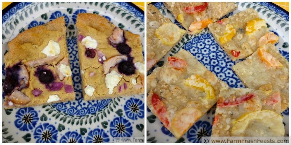 Chicken/Blueberry/Hummus vs Pepper/Peppadew Pizza