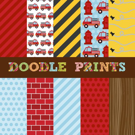 Fire Truck Digital Paper Digital Scrapbook Printable Paper Set