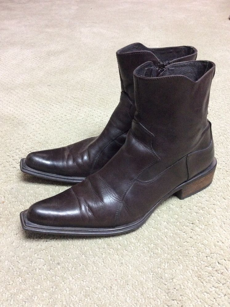 a8f588d56c2 ALDO Mens Leather Side Zip Ankle Boots Brown Western sz 44 (approx ...