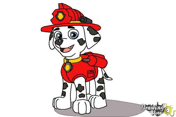 How To Draw Marshall From Paw Patrol Paw Patrol Cartoon Marshall Paw Patrol Paw Drawing