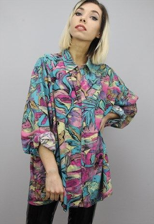 Vintage 80s 90s Oversized Patterned Shirt Womens Shirts Shirts Clothes