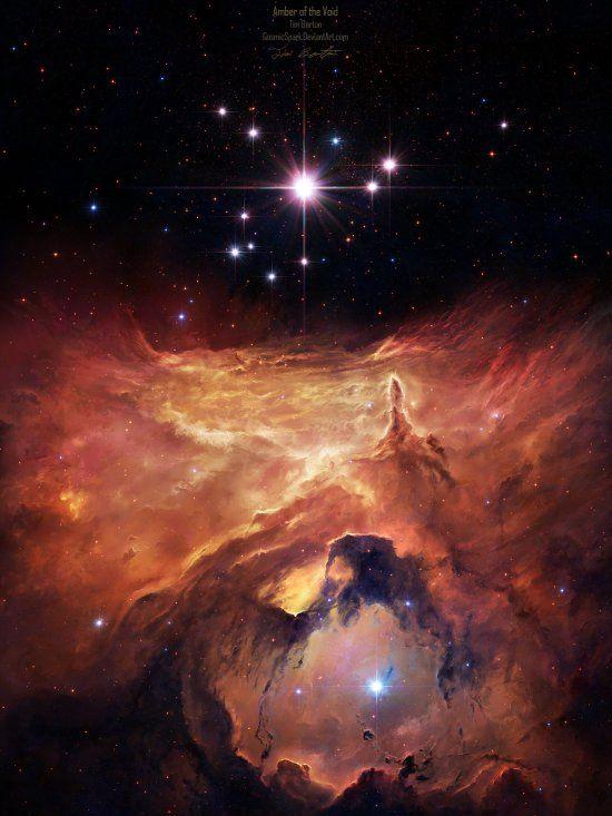 As ilustrações cósmicas de cenas do espaço e do universo de Tim Barton