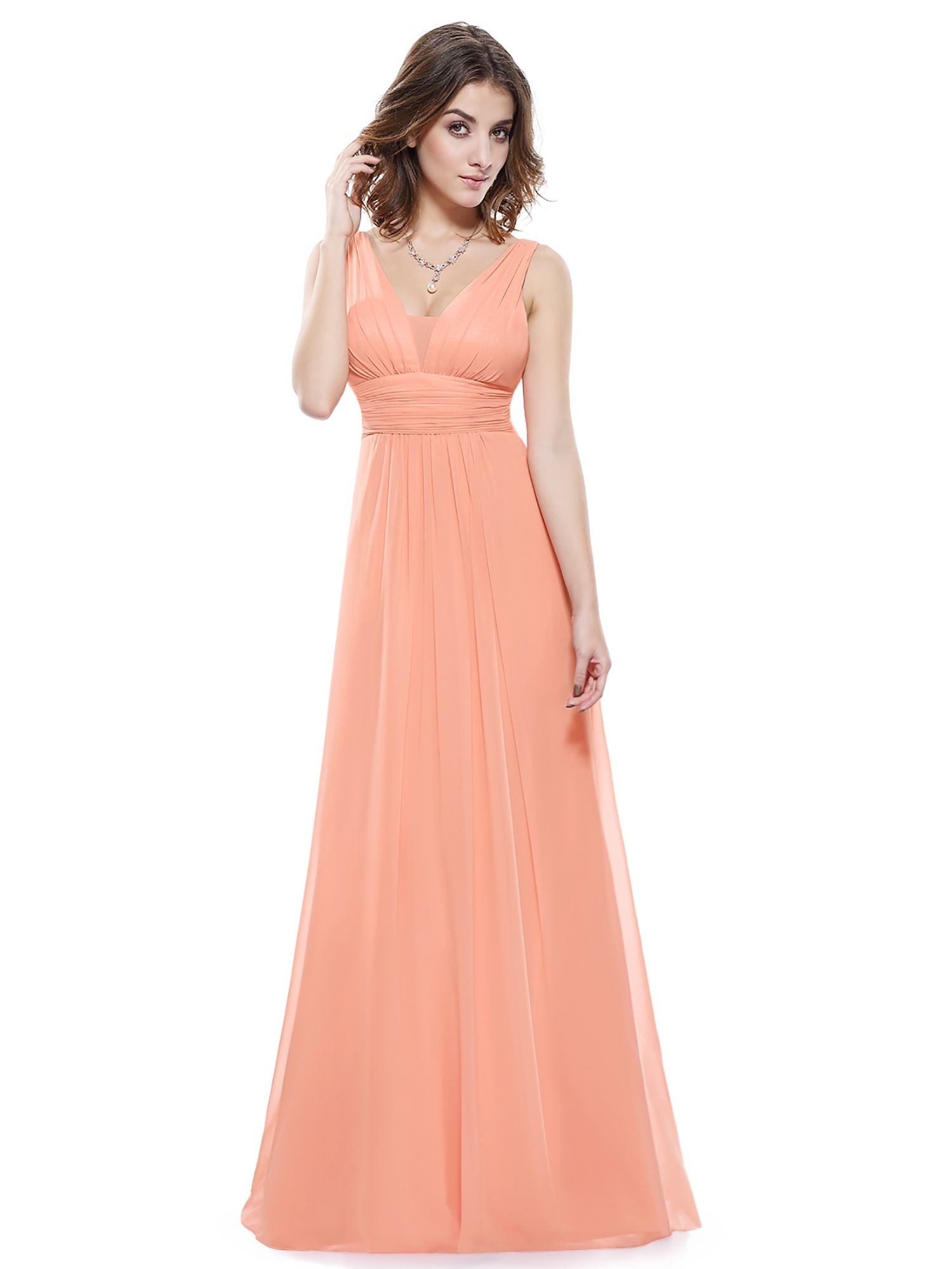 af71d09e5fa Ever-Pretty Women s Sexy Long Maxi V Neck Bridesmaid Holiday Party Evening  Prom Summer Dresses for Women 08110 (Peach 14 US) Neck