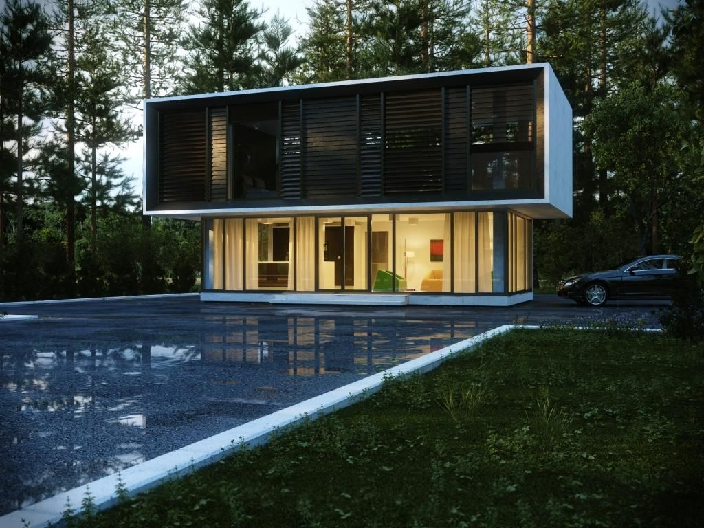 view modern house lights. Elegant Modern House In Forest Design With Pool Backyard Along Wide Glass Window View Lights