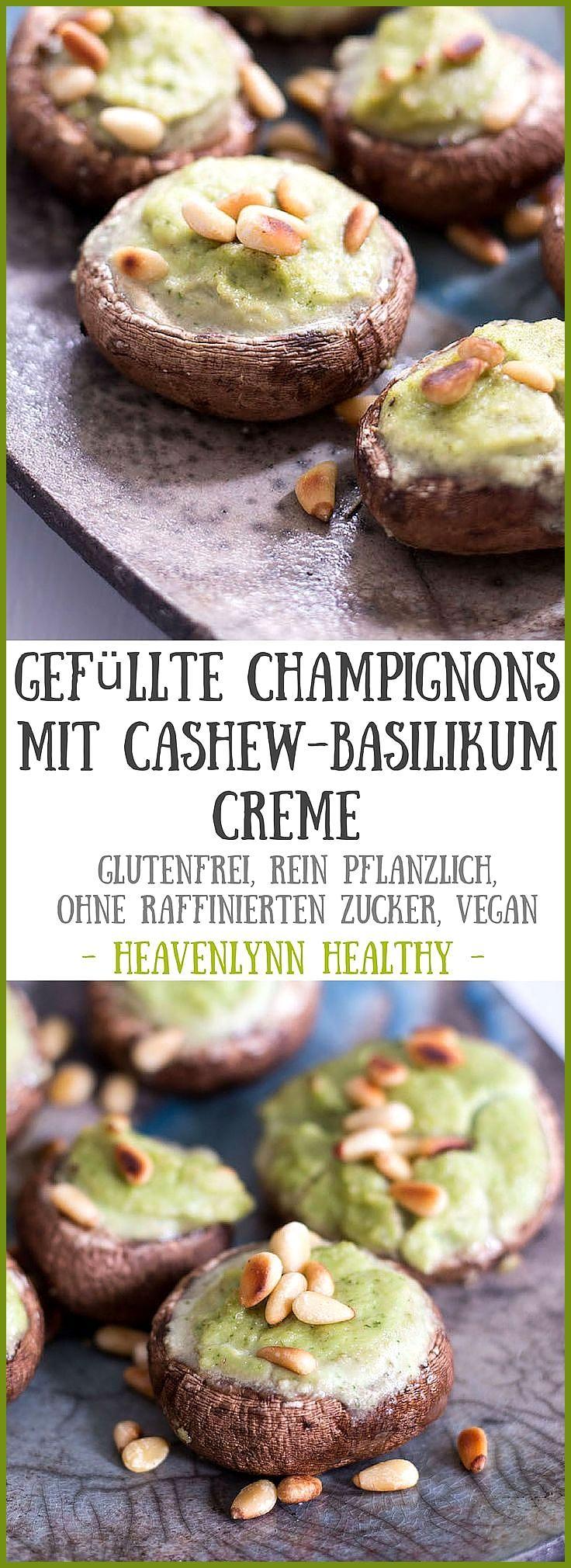 Gefüllte Champignons mit Cashew-Basilikum-Creme #CashewBasilikumCreme #Champignons #Fitness food ins...