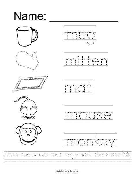 Trace The Words That Begin With The Letter M Worksheet  Writings
