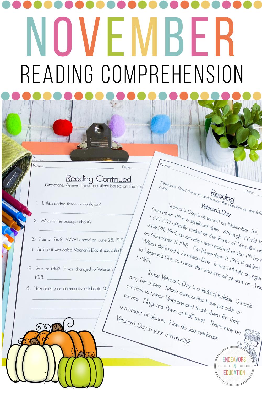 November Themed Reading Comprehension Reading Comprehension Comprehension Reading Passages [ 1500 x 1000 Pixel ]