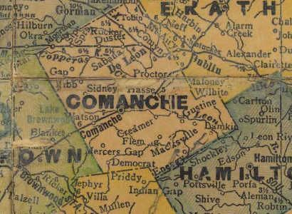 Texas 1940s Comanche County Map Comanche Tx County Map