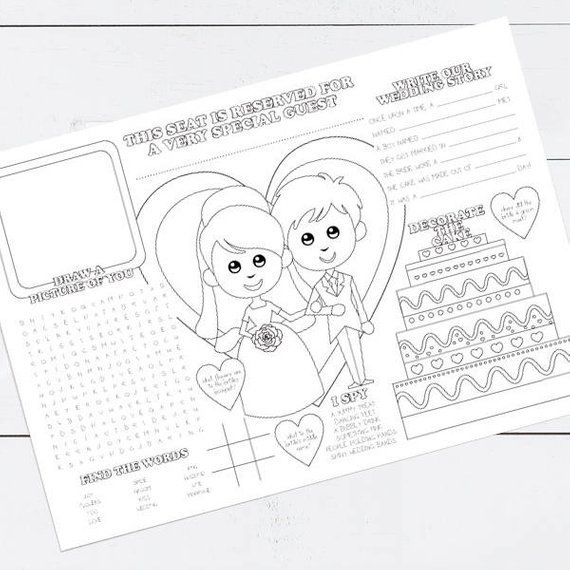 Fun Wedding Reception Ideas Activities: Keep The Kids Entertained With This Fun Printable Wedding