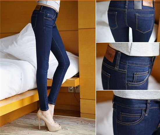 Dark Blue Women Skinny Pencil Denim Jeans, Sexy Slim Casual Stretch Jeans