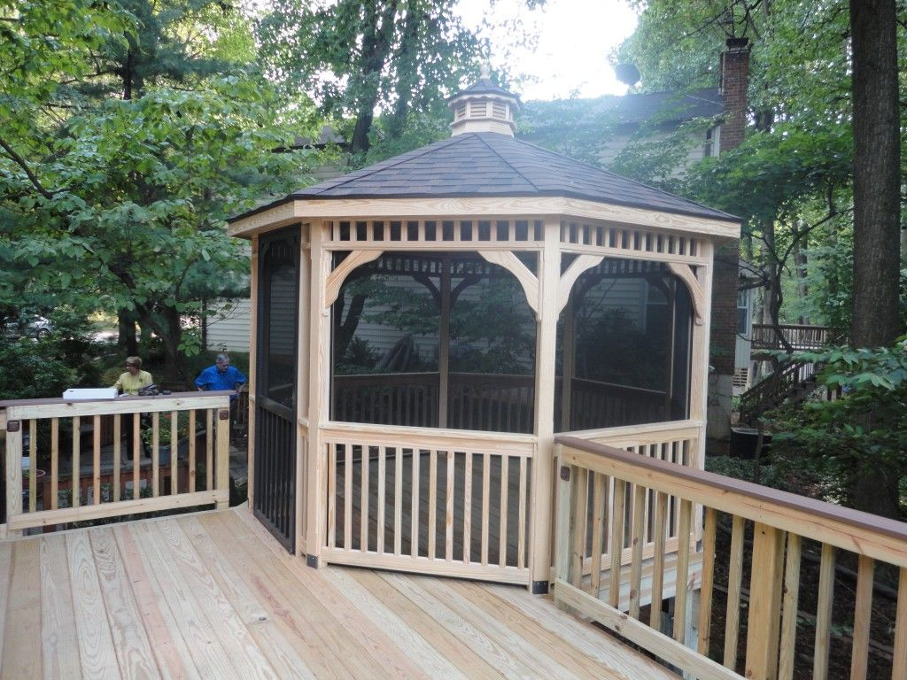 Bamboo gazebo deck plans - Screened In Gazebo Off The Deck Perfect Place To Hang The Hammock