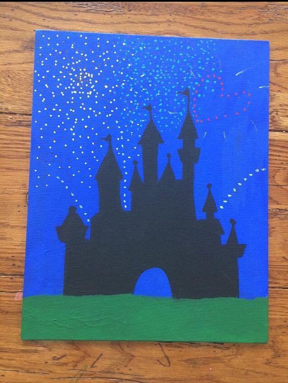 Cinderella S Castle Disneyworld Fireworks Painted On 11 X