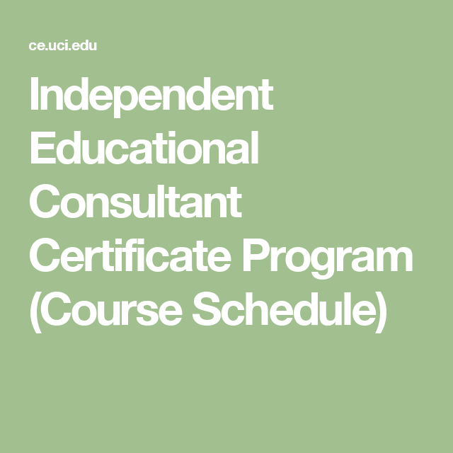Independent Educational Consultant Certificate Program Course