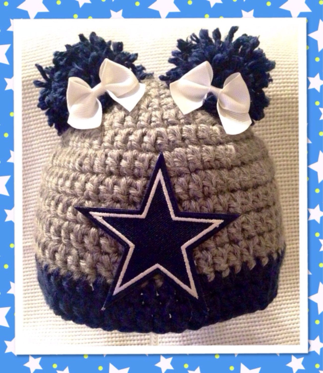 Dallas Cowboys Beanie Hat  Girl or Boy style  All by KemmaBoutique