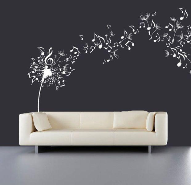 Wall Decal Vinyl Sticker Decals Art Decor Design Dandelion Music - Wall decals nature and plants