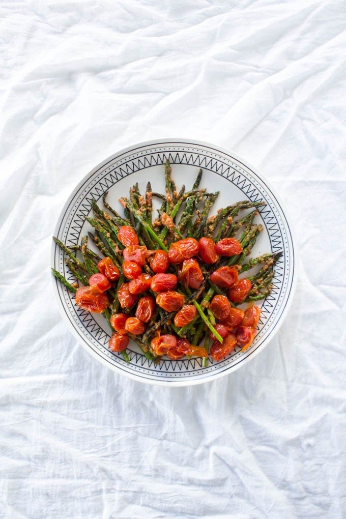 A simple, healthy side dish for the Holiday or everyday... Asparagus with Tomato-Walnut Pesto via GalMeetsFood.com