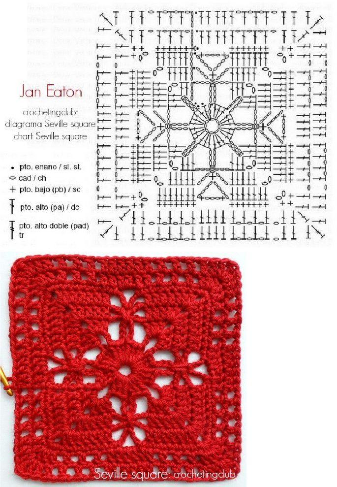 Jan Eaton Seville Square Chart | GRANNY SQUARE Patrones | Pinterest ...