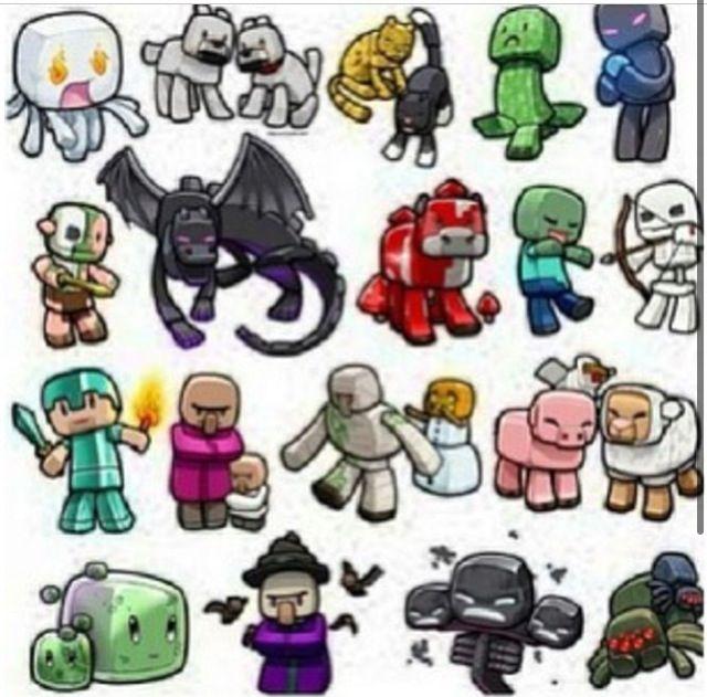 Chibi Minecraft Mobs Minecraft Drawings Minecraft Anime